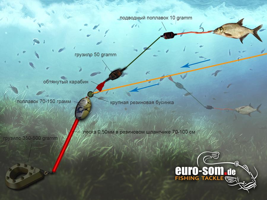 Три оснастки для ловли сома: квок с лодки и донные снасти с берега